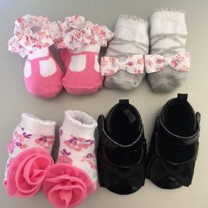 Other - 3 Pairs of Baby Girl Socks & Black Dress Shoes